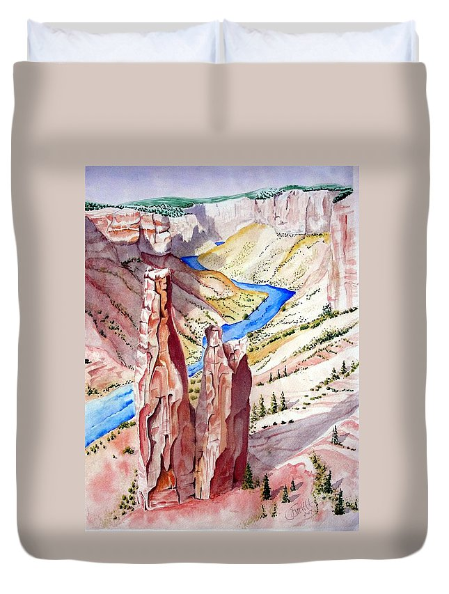 Canyon Duvet Cover featuring the painting The Canyon by Jimmy Smith