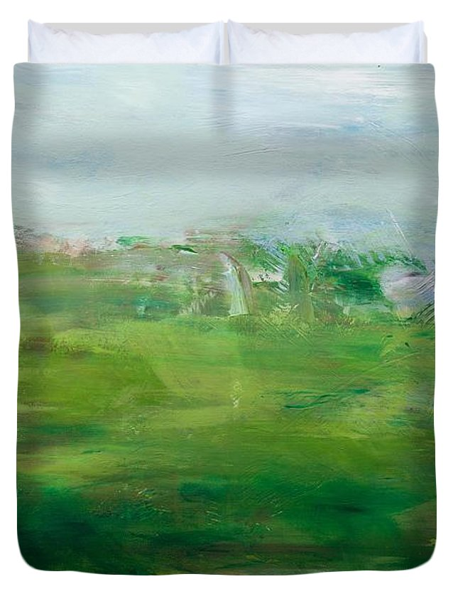 Landscape Duvet Cover featuring the painting The Cape by Allan P Friedlander