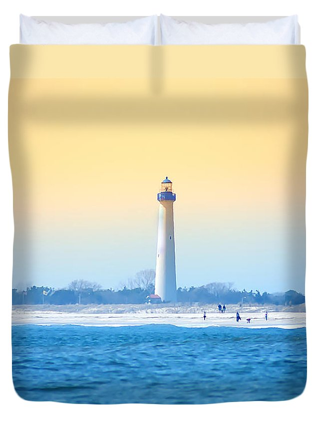 Cape May Duvet Cover featuring the photograph The Cape May Light House by Bill Cannon