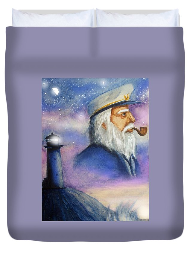 Sea Captain Duvet Cover featuring the painting The Captain by Amber Stanford