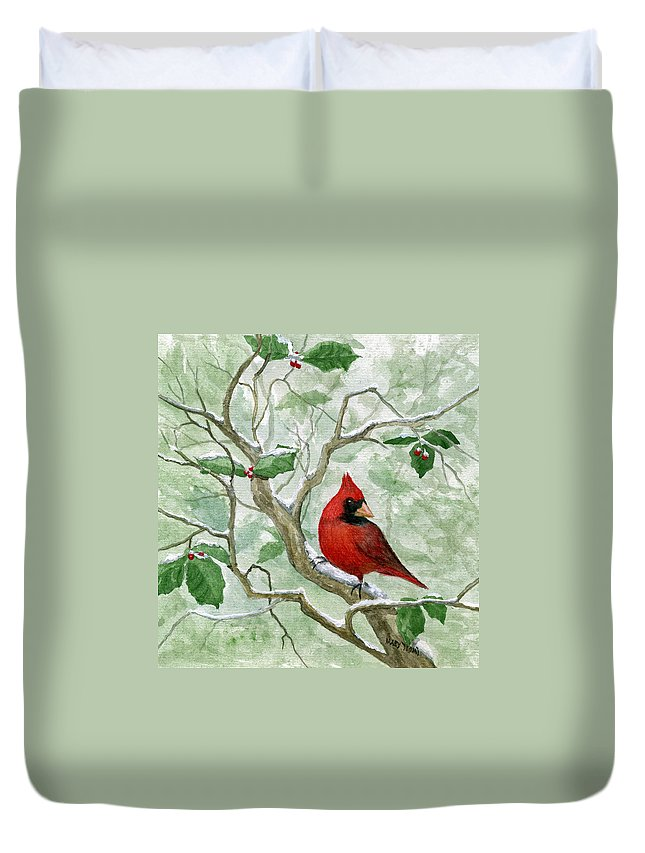Cardinal Duvet Cover featuring the painting The Cardinal by Mary Tuomi