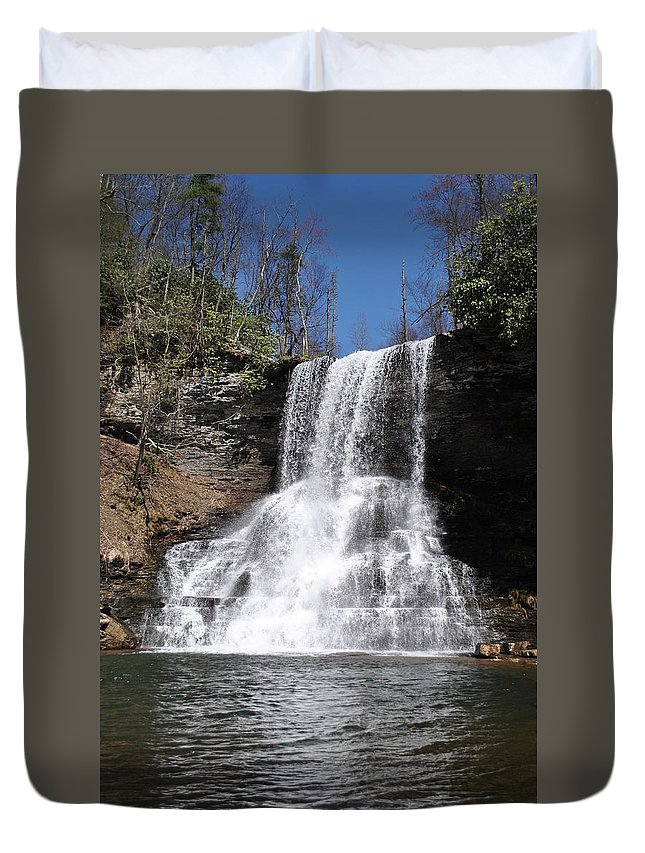 Waterfalls Duvet Cover featuring the photograph The Cascades Falls II by Eric Liller