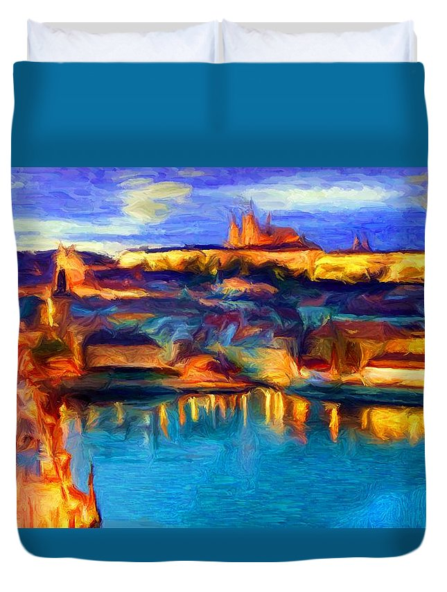 Prague Duvet Cover featuring the digital art The Castle And The River by Caito Junqueira
