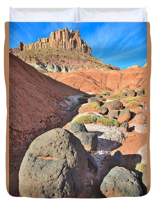 Capitol Reef National Park Duvet Cover featuring the photograph The Castle IIi by Ray Mathis