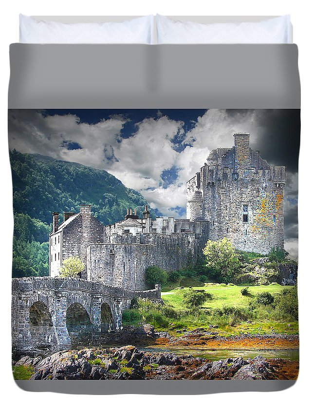 Castle Duvet Cover featuring the digital art The Castle by Vicki Lea Eggen