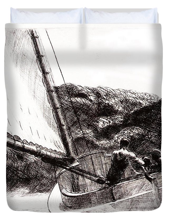 The Cat Boat Duvet Cover featuring the drawing The Cat Boat, Edward Hopper by Edward Hopper