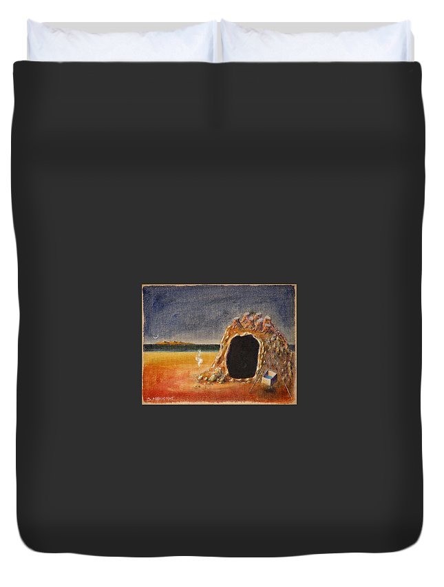Metaphysacal Duvet Cover featuring the painting The Cave Of Orpheas by Dimitris Milionis