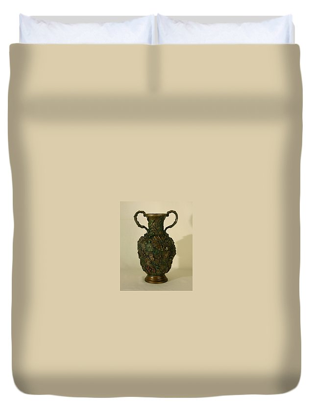 Floral Duvet Cover featuring the sculpture The Cedar Ridge - Wildflower Vase Prickly Pear Side by Dawn Senior-Trask