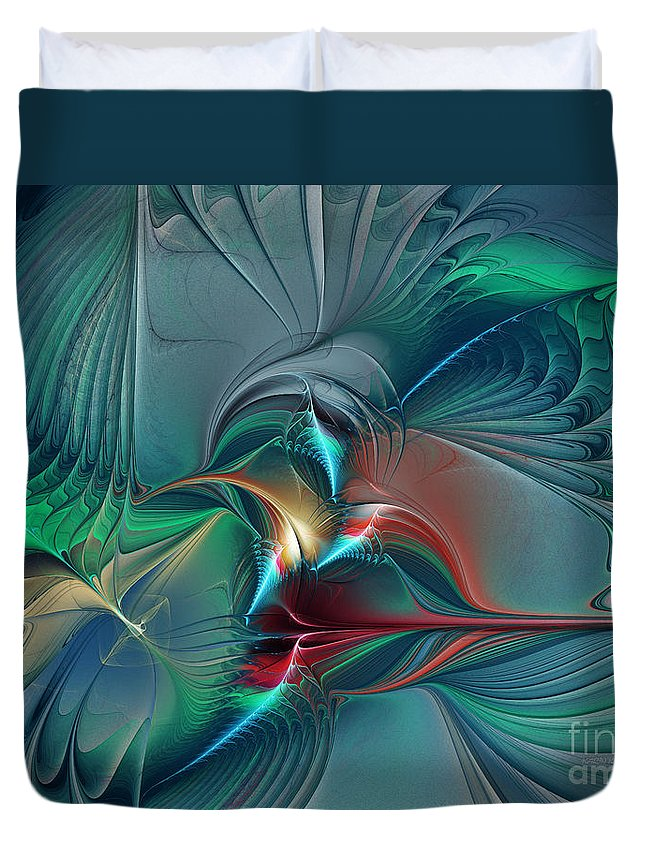 Abstract Duvet Cover featuring the digital art The Center Of Longing-abstract Art by Karin Kuhlmann