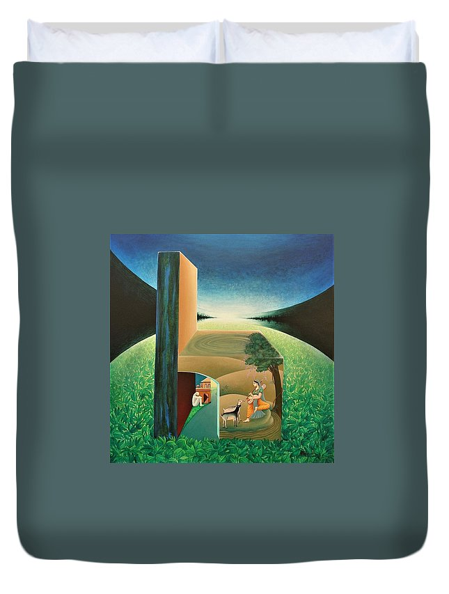 Romantic Duvet Cover featuring the painting The Chair - A by Raju Bose