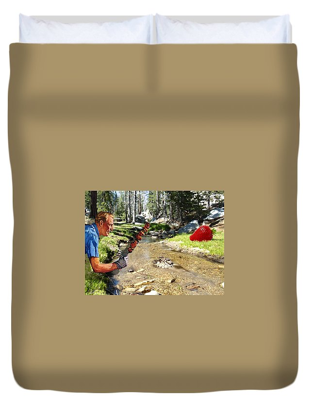 Digital Art Duvet Cover featuring the photograph The Challenge by Snake Jagger