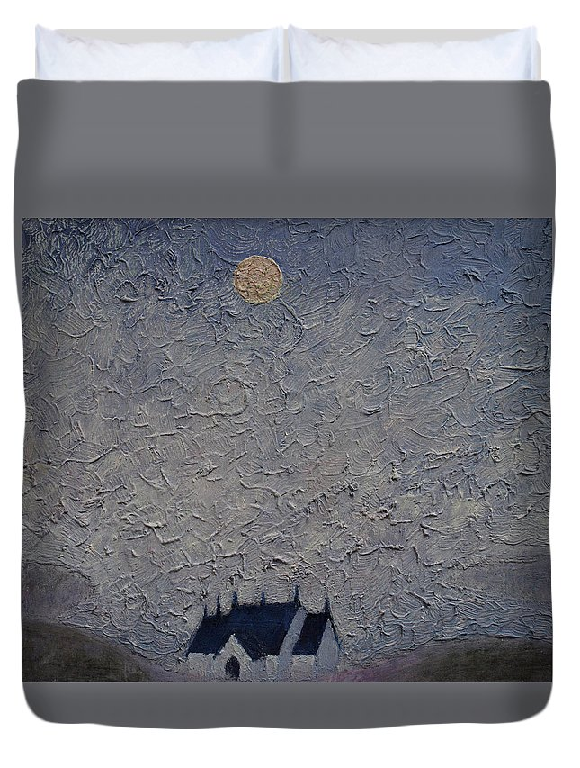 Loch Duvet Cover featuring the painting The Chapel On The Loch by Andy Mercer