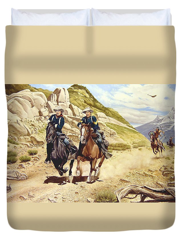 Western Duvet Cover featuring the painting The Chase by Marc Stewart