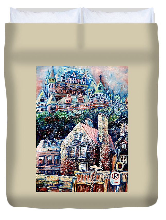 Chateau Frontenac Duvet Cover featuring the painting The Chateau Frontenac by Carole Spandau