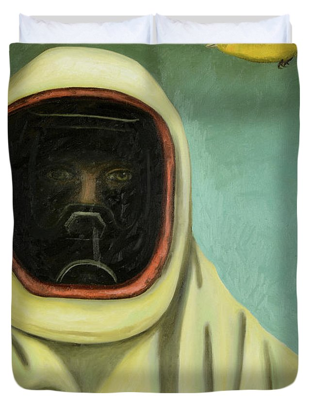 The Chemicals Between Us Duvet Cover featuring the painting The Chemicals Between Us by Leah Saulnier The Painting Maniac