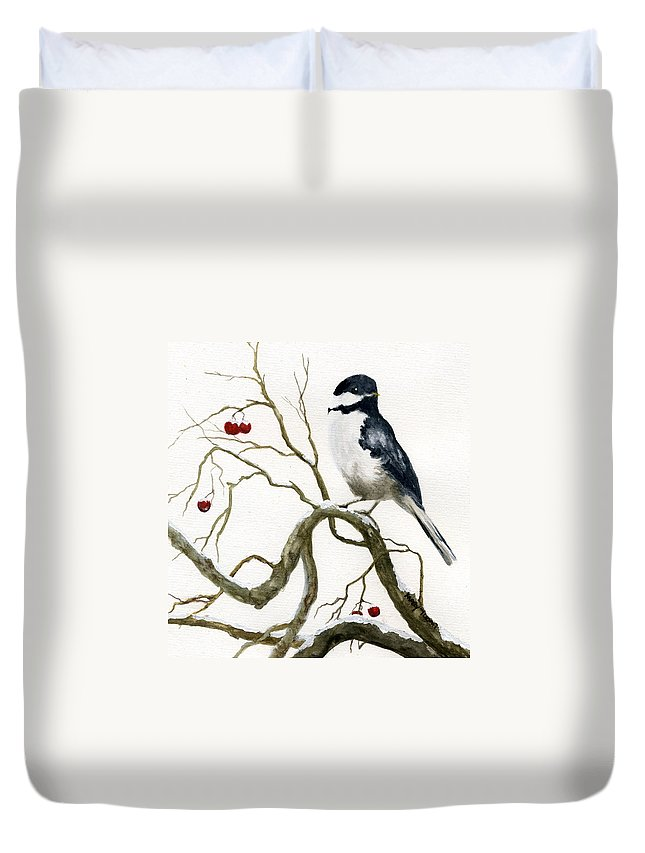 Birds Duvet Cover featuring the painting The Chickadee by Mary Tuomi