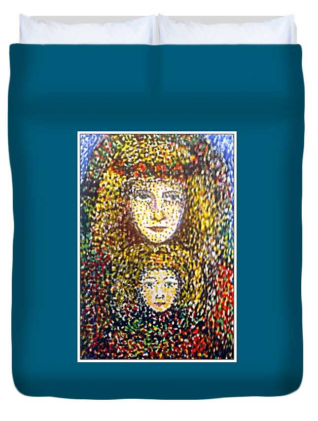 Madonna Duvet Cover featuring the drawing The Chosen One With The Holy Child by Alina Gorna