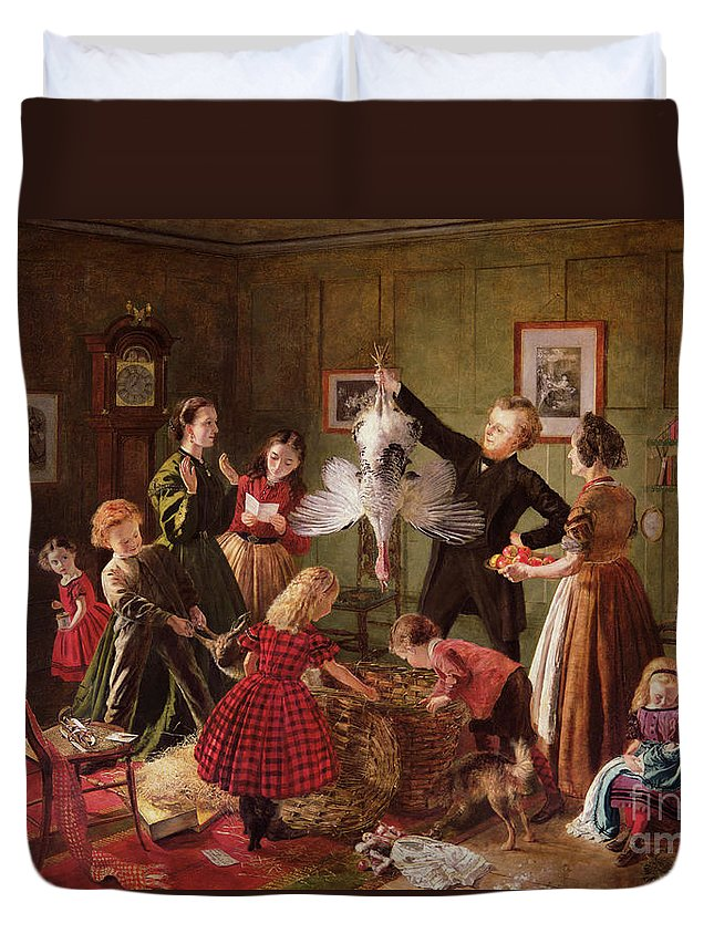 The Duvet Cover featuring the painting The Christmas Hamper by Robert Braithwaite Martineau
