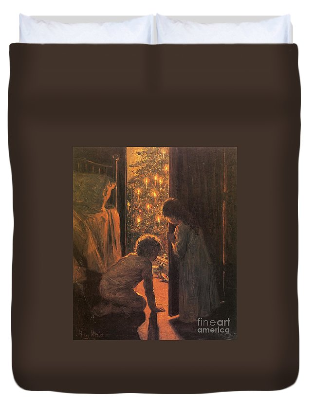 The Christmas Tree Duvet Cover featuring the painting The Christmas Tree by Henry Mosler
