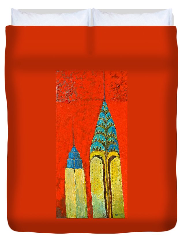 Duvet Cover featuring the painting The Chrysler And The Empire State by Habib Ayat