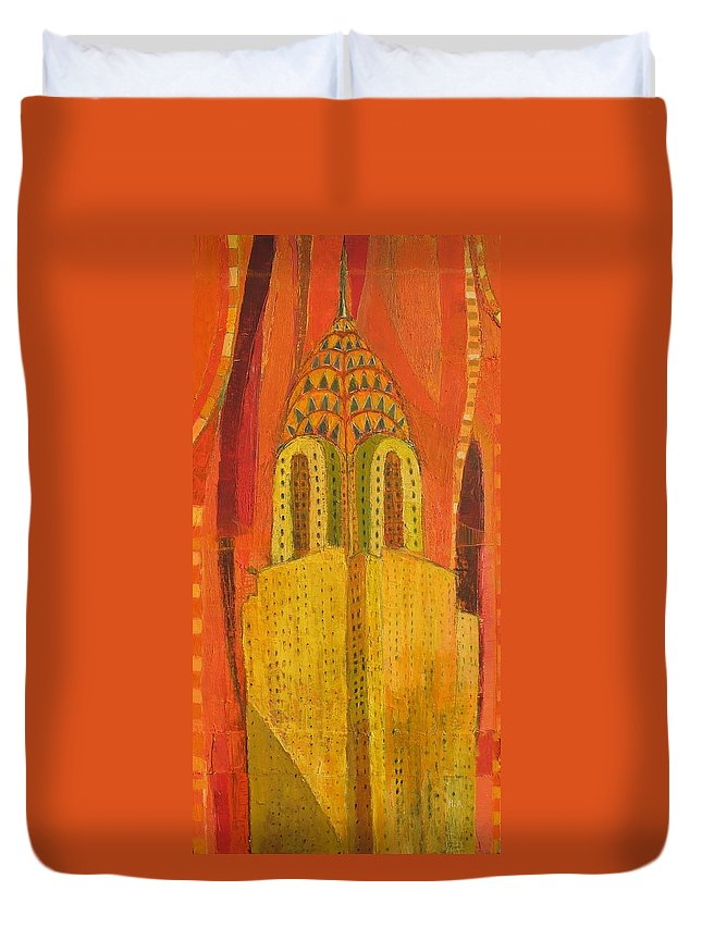 Abstract Cityscape Duvet Cover featuring the painting The Chrysler In Red by Habib Ayat