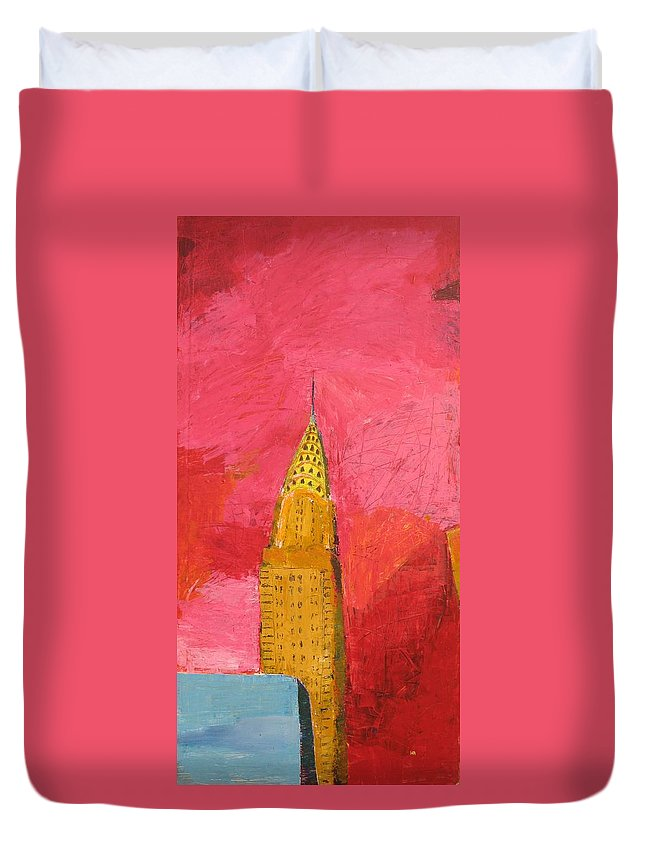 Nyc Duvet Cover featuring the painting The Chrysler With Red by Habib Ayat