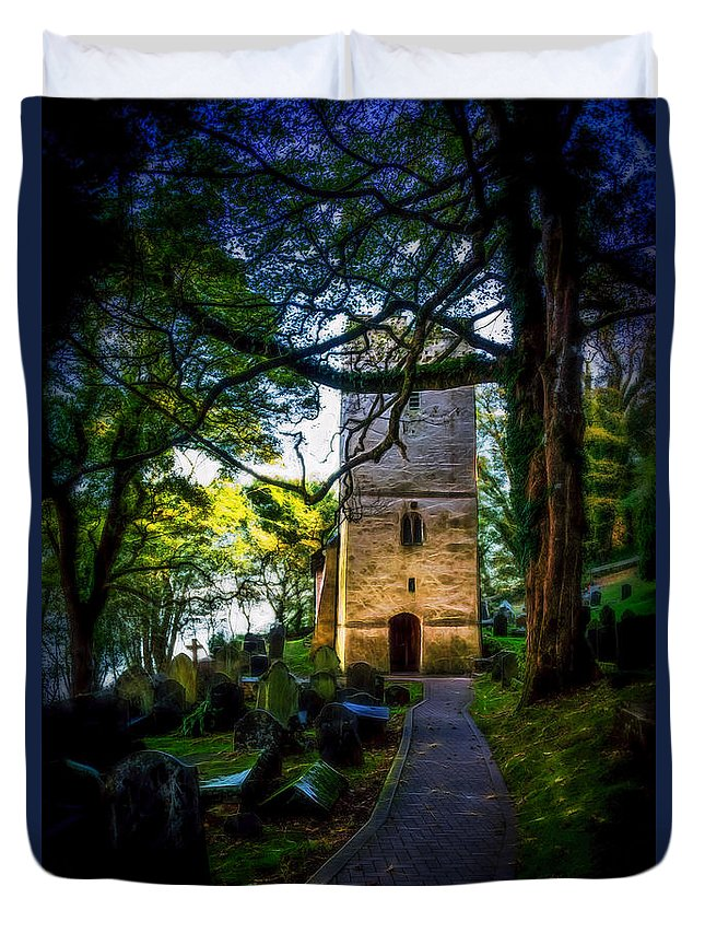 Graveyard Duvet Cover featuring the photograph The Church 2 by Roy Pedersen
