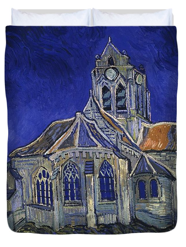 Vincent Van Gogh Duvet Cover featuring the painting The Church At Auvers by Van Gogh