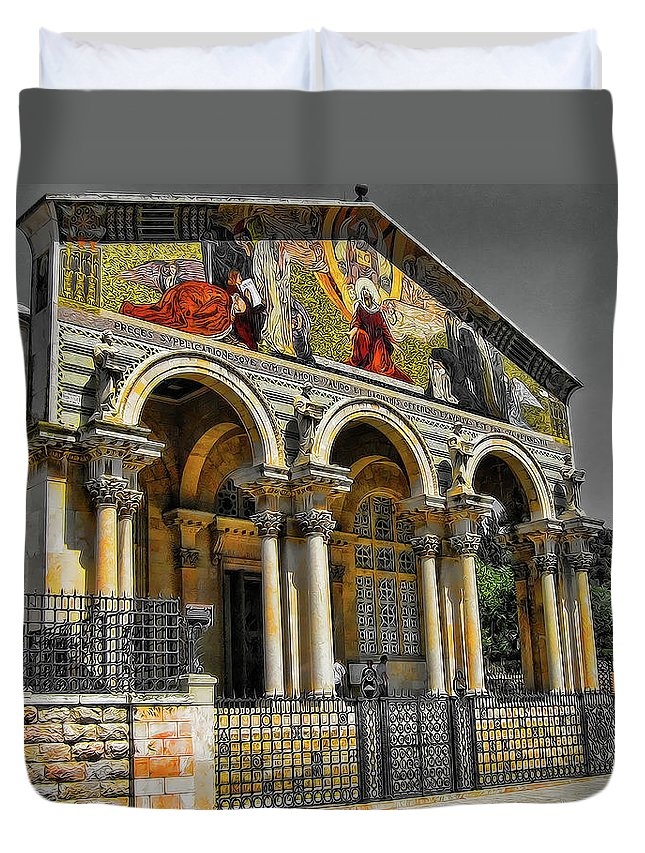 The Church Of All Nations Duvet Cover featuring the photograph The Church Of All Nations by Douglas Barnard