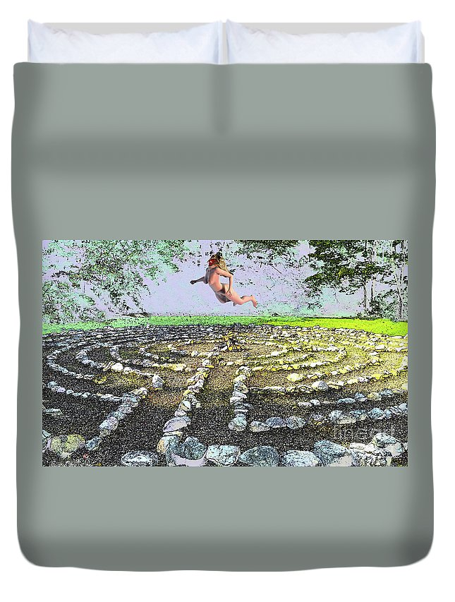 Stone Circle Duvet Cover featuring the mixed media The Circle Macabre by Broken Soldier
