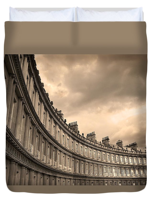 Bath Duvet Cover featuring the photograph The Circus Bath England by Mal Bray