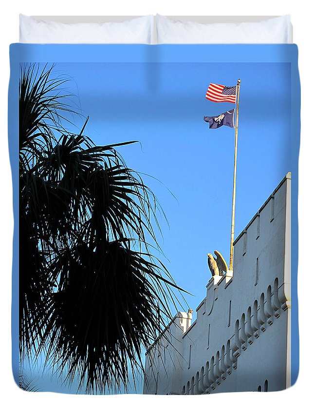 Photography Duvet Cover featuring the photograph The Citadel In Charleston by Susanne Van Hulst