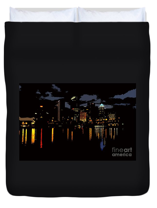 Tampa Florida Duvet Cover featuring the photograph The City Dark by David Lee Thompson