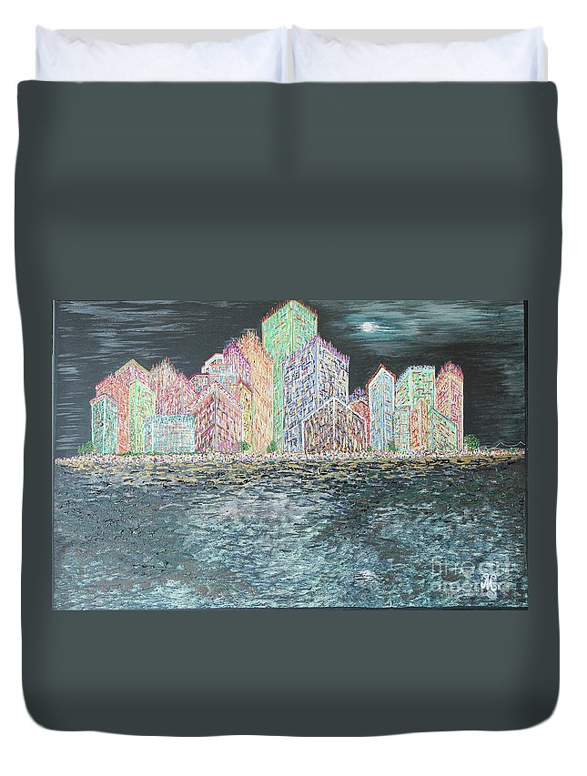 New York City Duvet Cover featuring the painting The City That Never Sleeps by Mary Shawn Newins