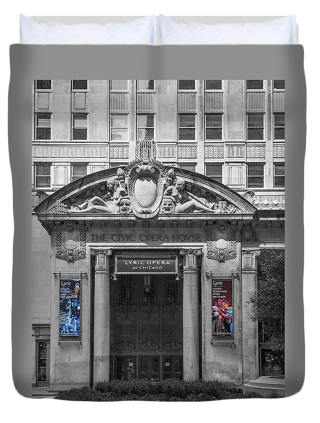 Civic Opera House Duvet Cover featuring the photograph The Civic Opera House by Art Spectrum