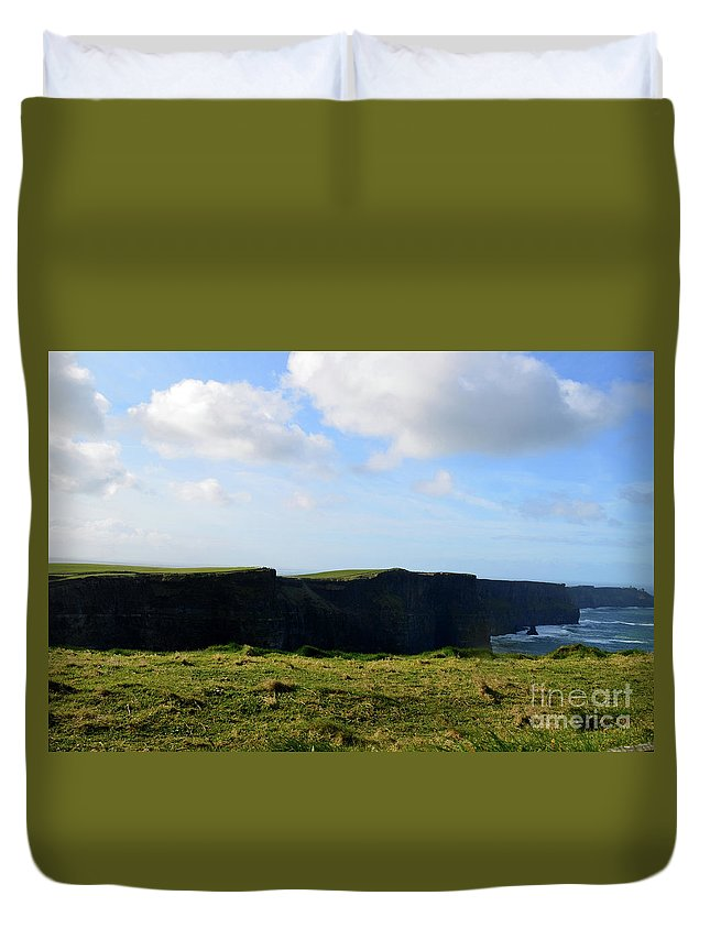 Cliffs-of-moher Duvet Cover featuring the photograph The Cliff's Of Moher In Ireland With Beautiful Skies by DejaVu Designs