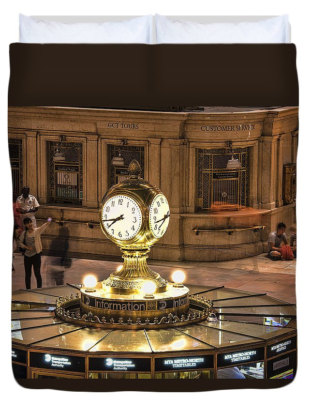 Clock Duvet Cover featuring the photograph The Clock by Michael Tischler