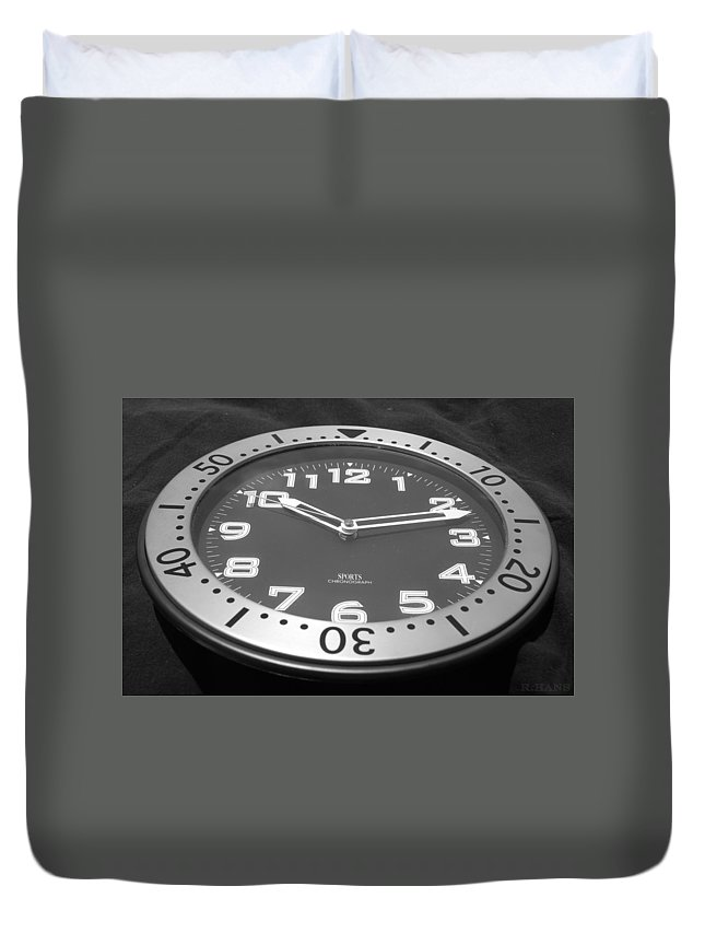 Black And White Duvet Cover featuring the photograph The Clock by Rob Hans
