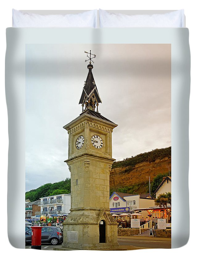 Shanklin Duvet Cover featuring the photograph The Clock Tower At Shanklin by Rod Johnson