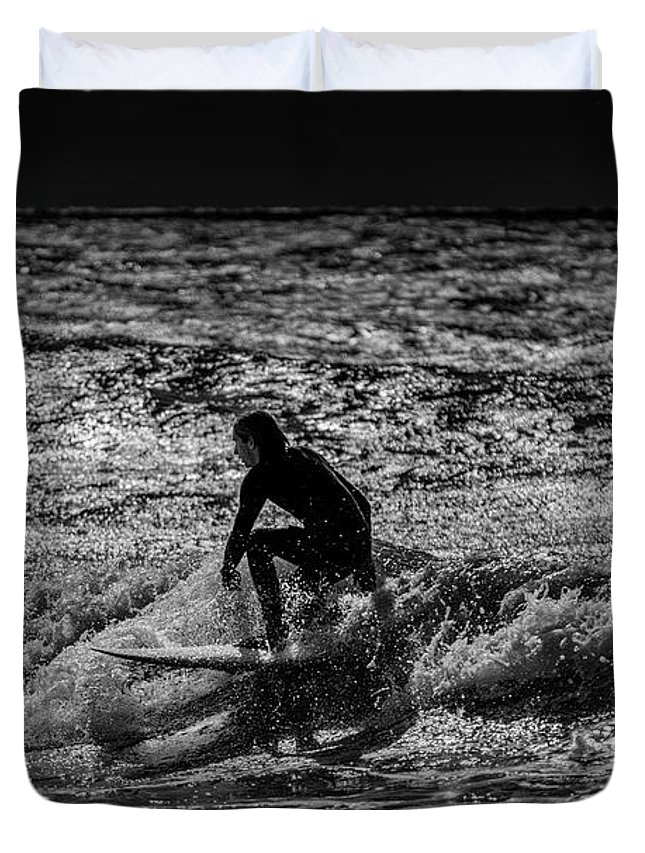 Surfer Duvet Cover featuring the photograph The Close Out by Marvin Spates