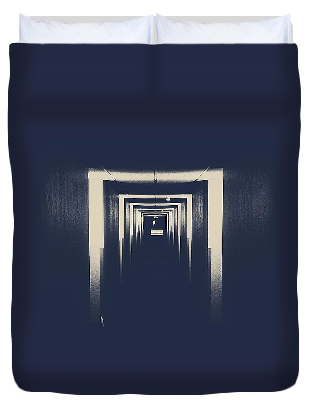 Rural Decay Duvet Cover featuring the photograph The Closed Doors by The Artist Project