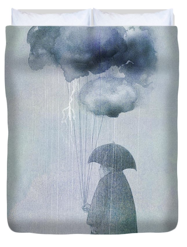 Clouds Duvet Cover featuring the painting The Cloud Seller by Eric Fan