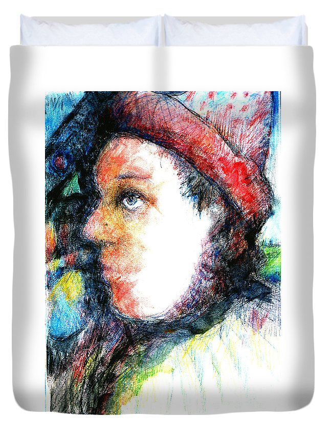 Sad Clown Circus Duvet Cover featuring the drawing The Clown by Andy Mercer