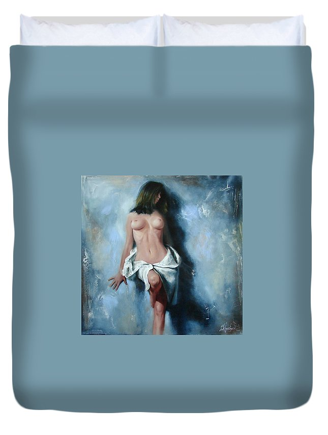 Oil Duvet Cover featuring the painting The cold senses by Sergey Ignatenko