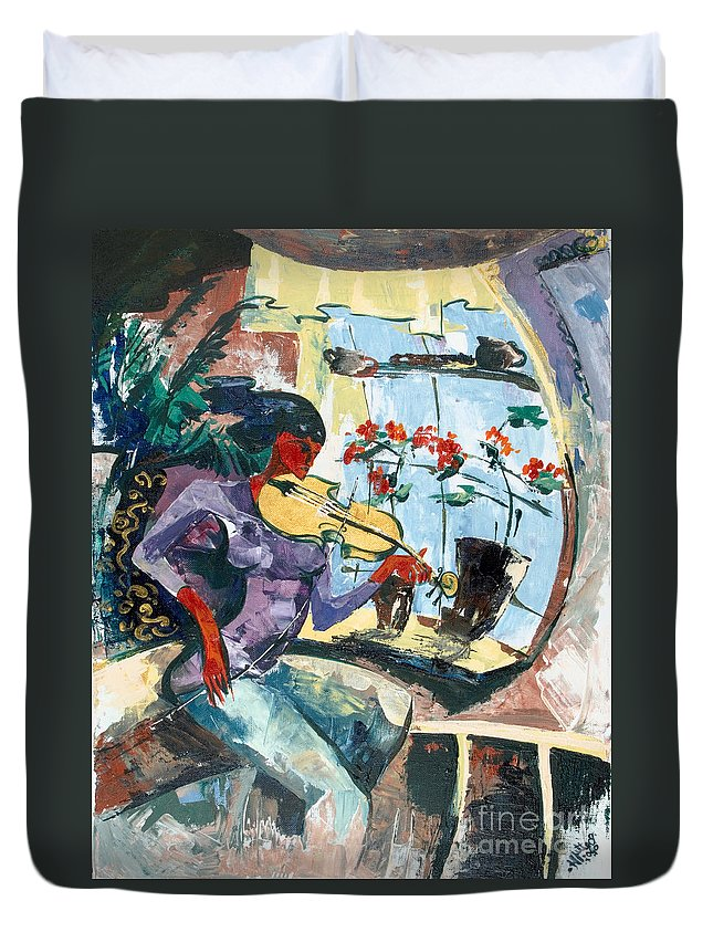Music Duvet Cover featuring the painting The Color Of Music by Elisabeta Hermann