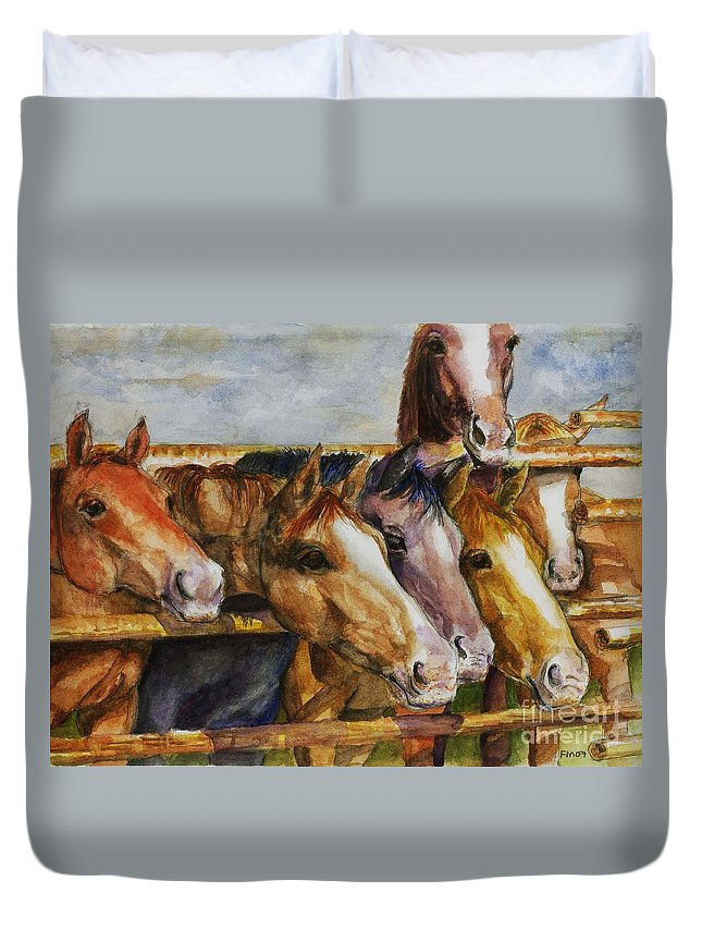 Horses Duvet Cover featuring the painting The Colorado Horse Rescue by Frances Marino