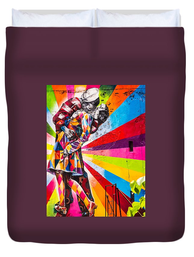 Kissing Sailor Duvet Cover featuring the photograph The Colorful Kiss by Robin Zygelman