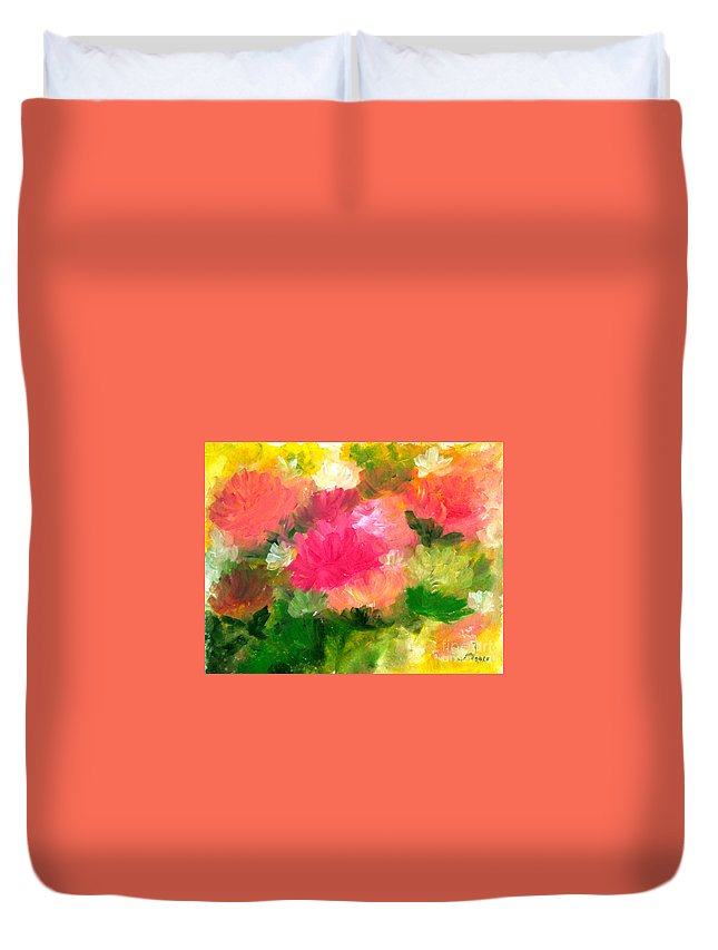Abstract Duvet Cover featuring the painting The Colors Of Nature by Jennilyn Villamer Vibar