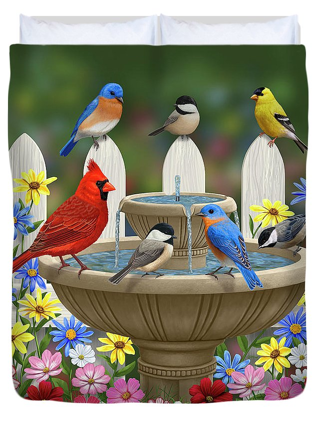 Birds Duvet Cover featuring the painting The Colors Of Spring - Bird Fountain In Flower Garden by Crista Forest