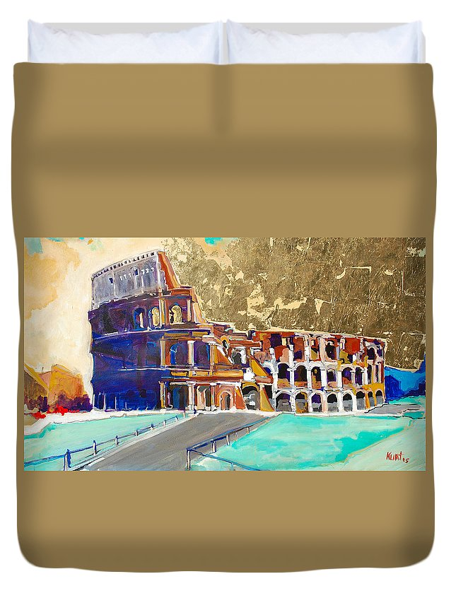Colosseum Duvet Cover featuring the painting The Colosseum by Kurt Hausmann